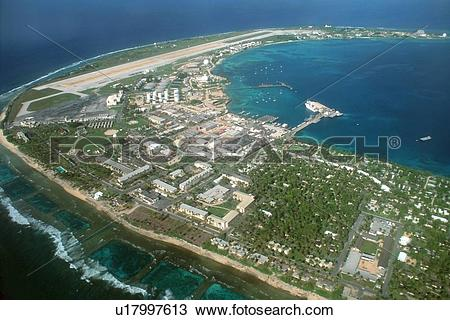 Stock Photo of Aerial view of airport and military base in.