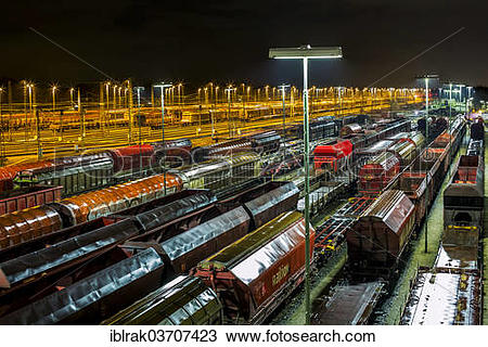 """Stock Photo of """"Parked goods wagons on the tracks of the Maschen."""