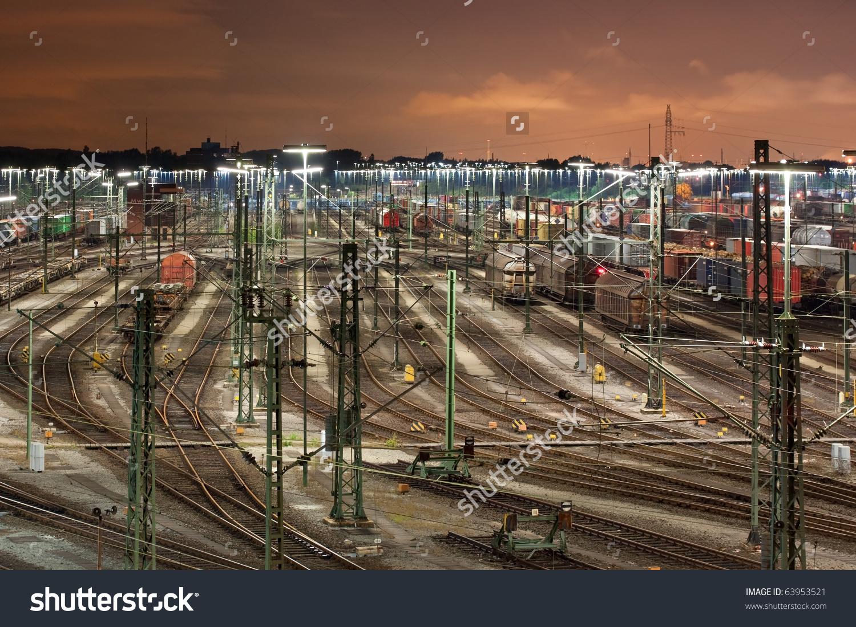 Classification Yard Maschen Near Hamburg, Germany At Night, It Is.