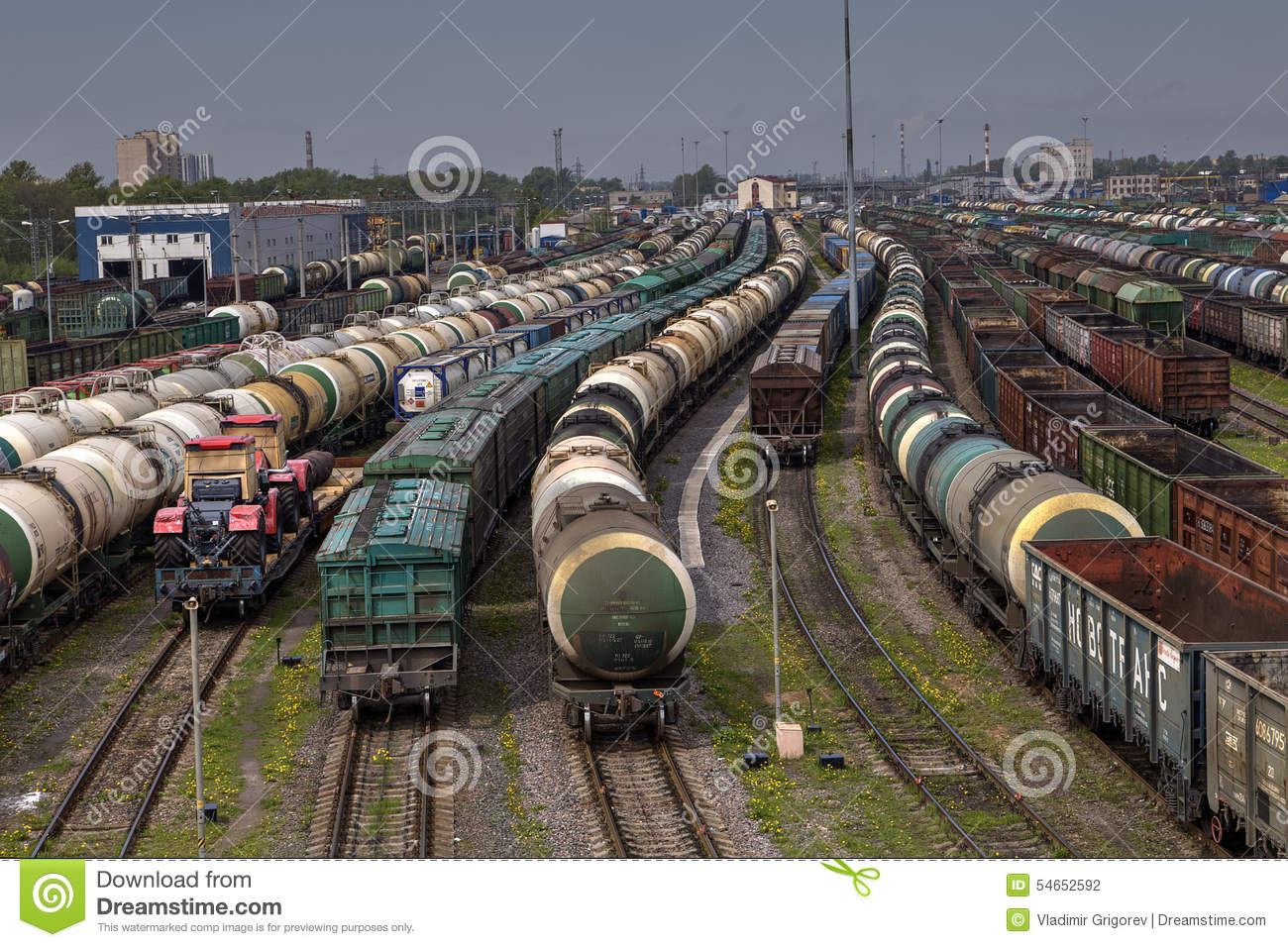 Marshalling Yard Of Railway Station In Night Stock Images.