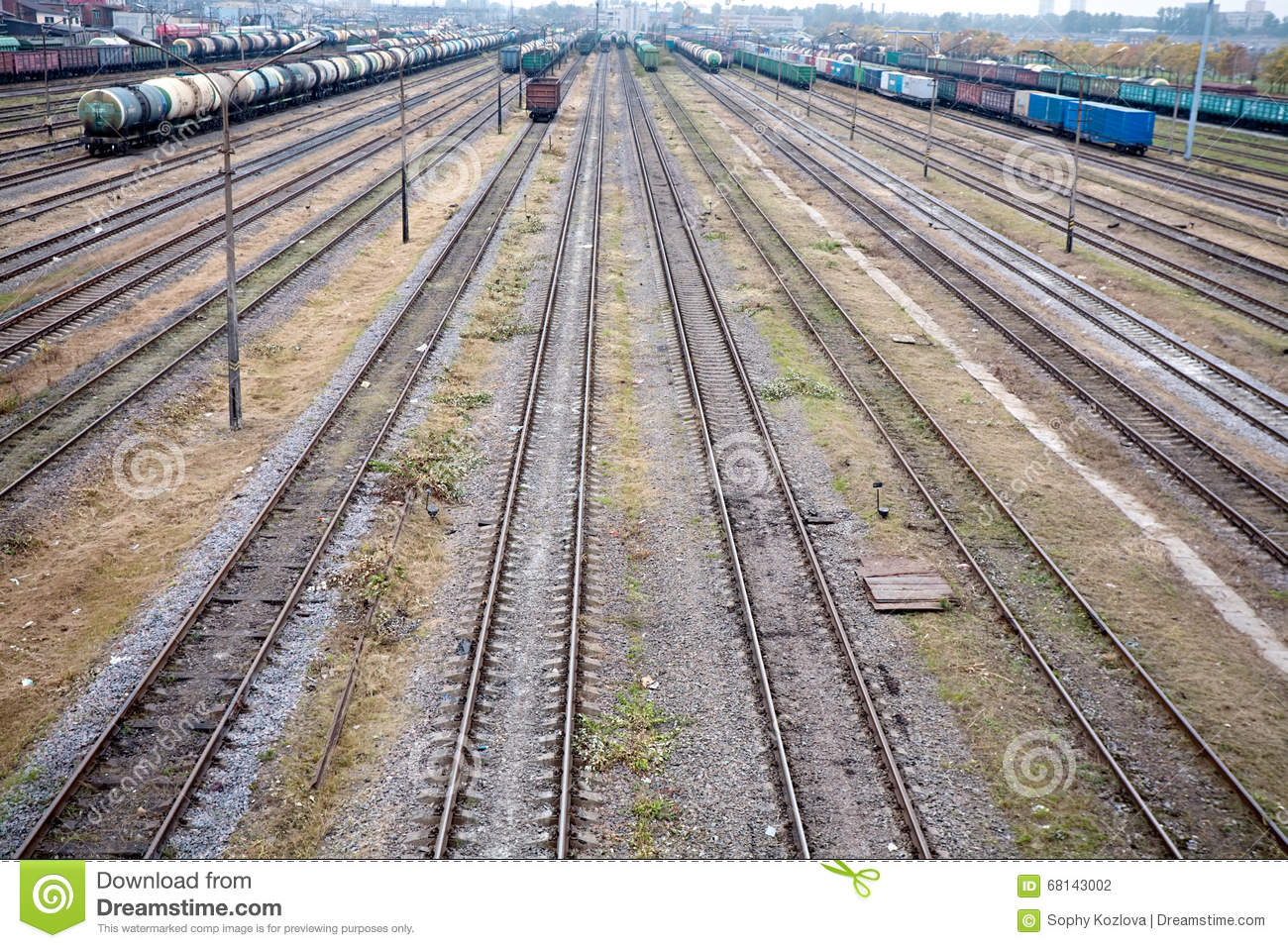Marshalling Yard Of Railway Station In Night Stock Image.