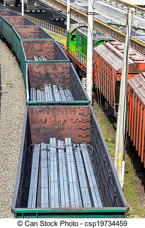 Stock Images of Coal , metal, iron square tube is transported in.