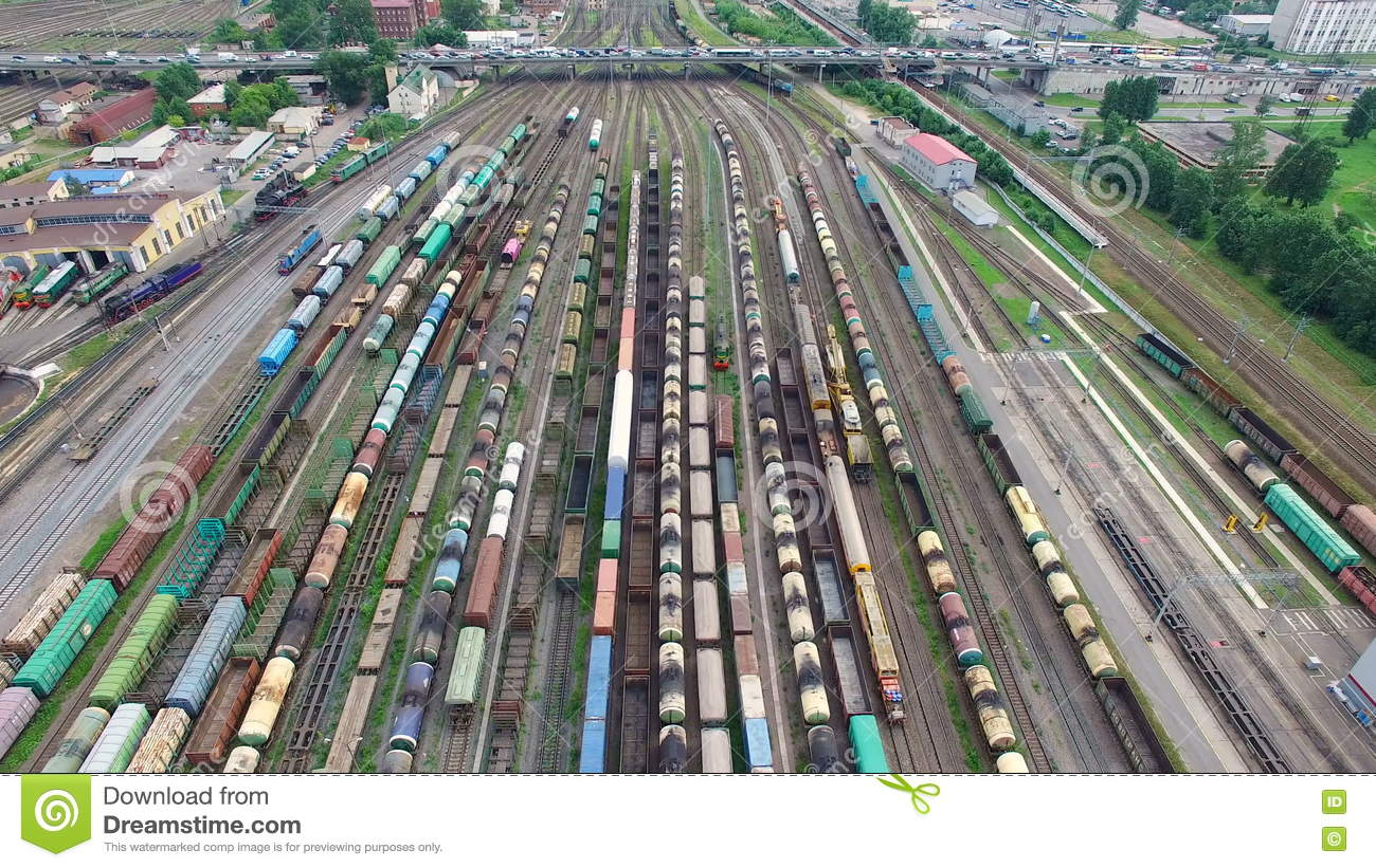 Railway Yard With A Lot Of Railway Lines And Freight Trains, Rail.