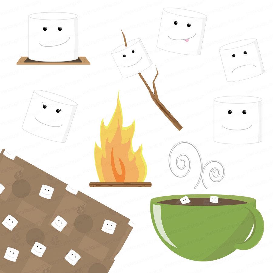 Campfire Marshmallow Clipart.