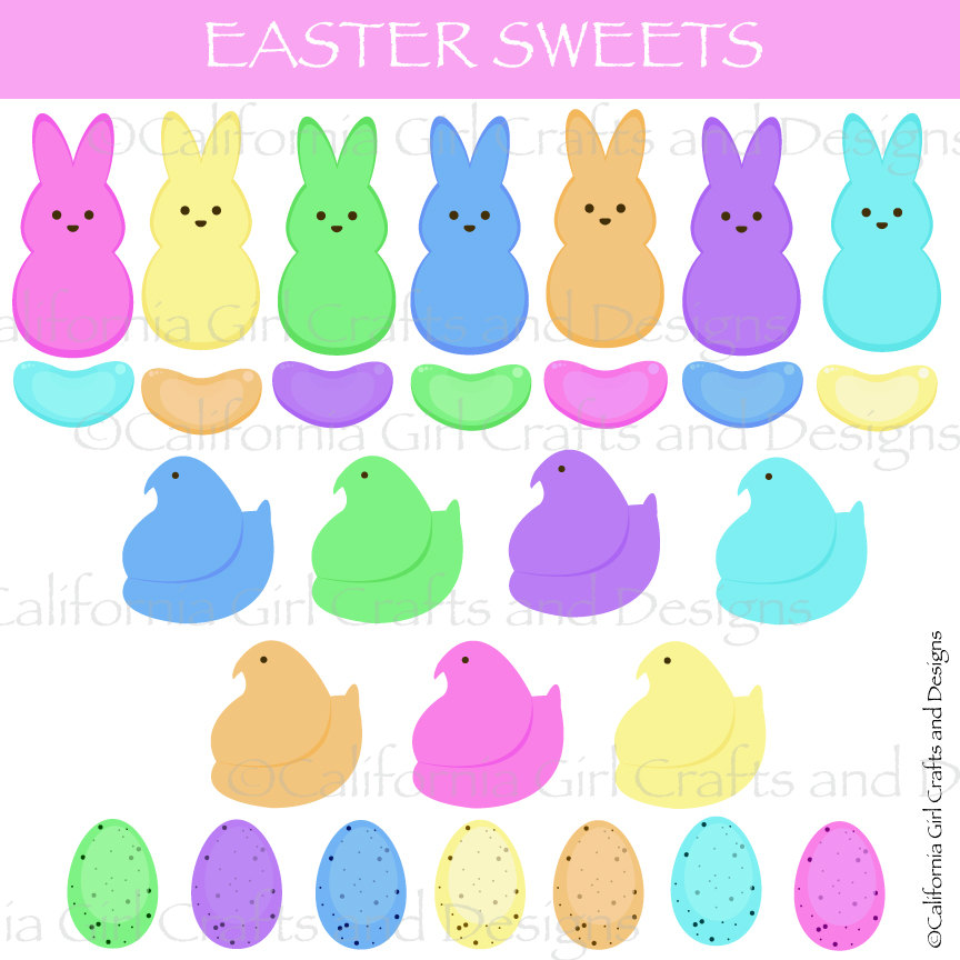 Easter Sweets Candy Clipart Instant Digital Download.