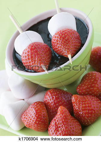 Stock Photo of Strawberry and Marshmallow Sticks with Chocolate.