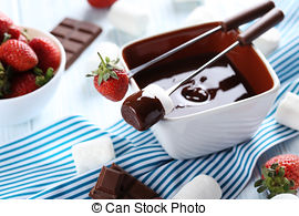 Stock Photographs of Grilled Marshmallows and Strawberries on.