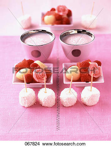 Stock Photo of Marshmallows, coconut, litchi salad, strawberry.