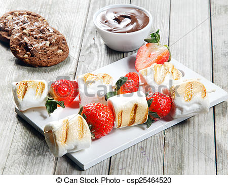 Stock Photo of Grilled Strawberry and Marshmallow on Stick.