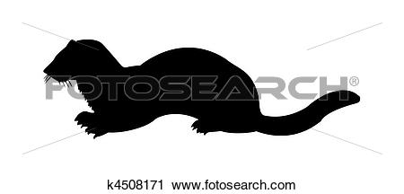 Clipart of vector silhouette of the marten on white background.