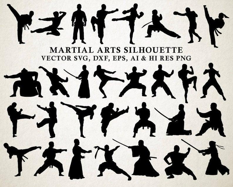 Martial Arts Silhouette Clipart, Karate Sihouette, Karate Clip Art, Karate  Clipart PNG & Vector EPS, AI Design Elements Instant Download.