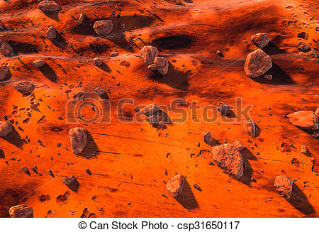 Clipart of Red Planet Mars surface and rocks.
