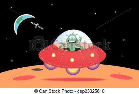 Vector Clip Art of UFO landing on the surface of Mars.