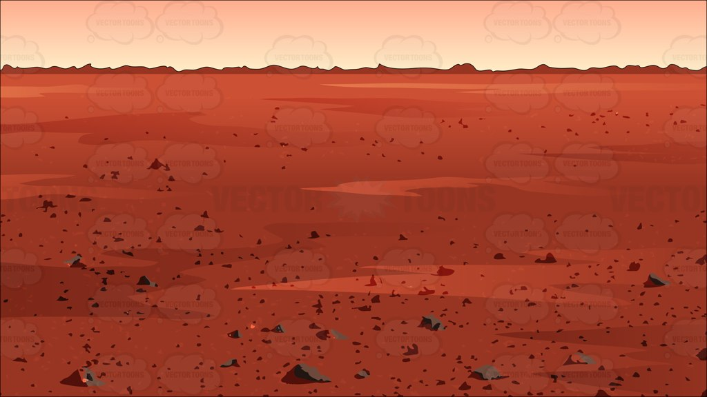 Surface Of Mars Background Cartoon Clipart.