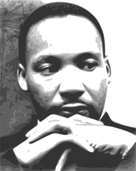 martin luther king jr black and white clipart #5