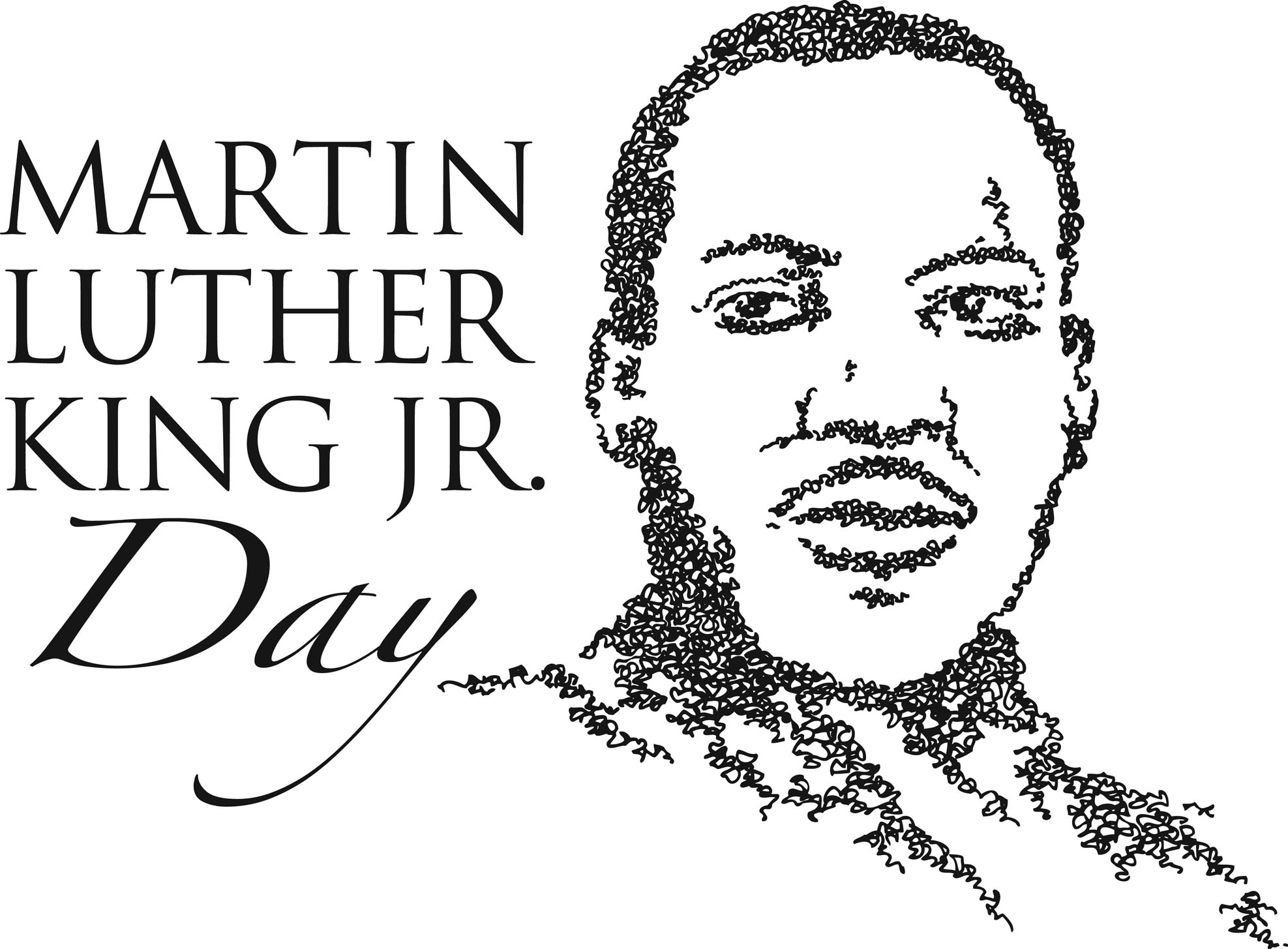 martin luther king jr black and white clipart #9