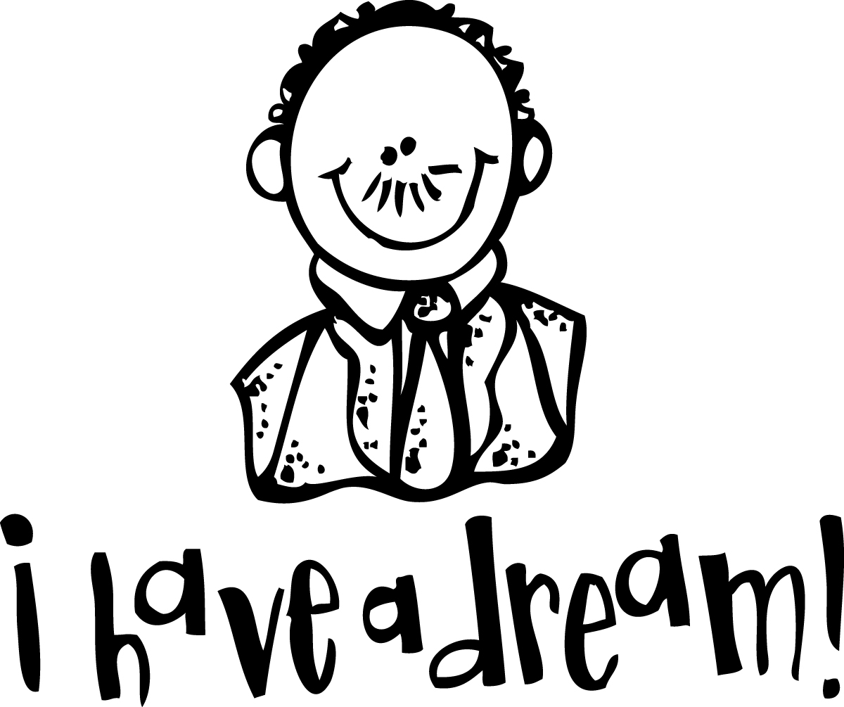 martin luther king jr black and white clipart #10