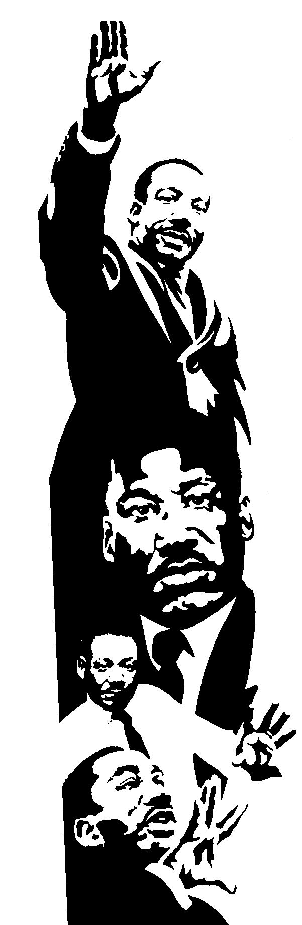 martin luther king jr black and white clipart #12
