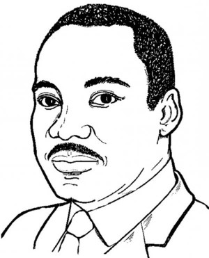 martin luther king jr black and white clipart #7