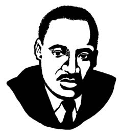 martin luther king jr black and white clipart #6