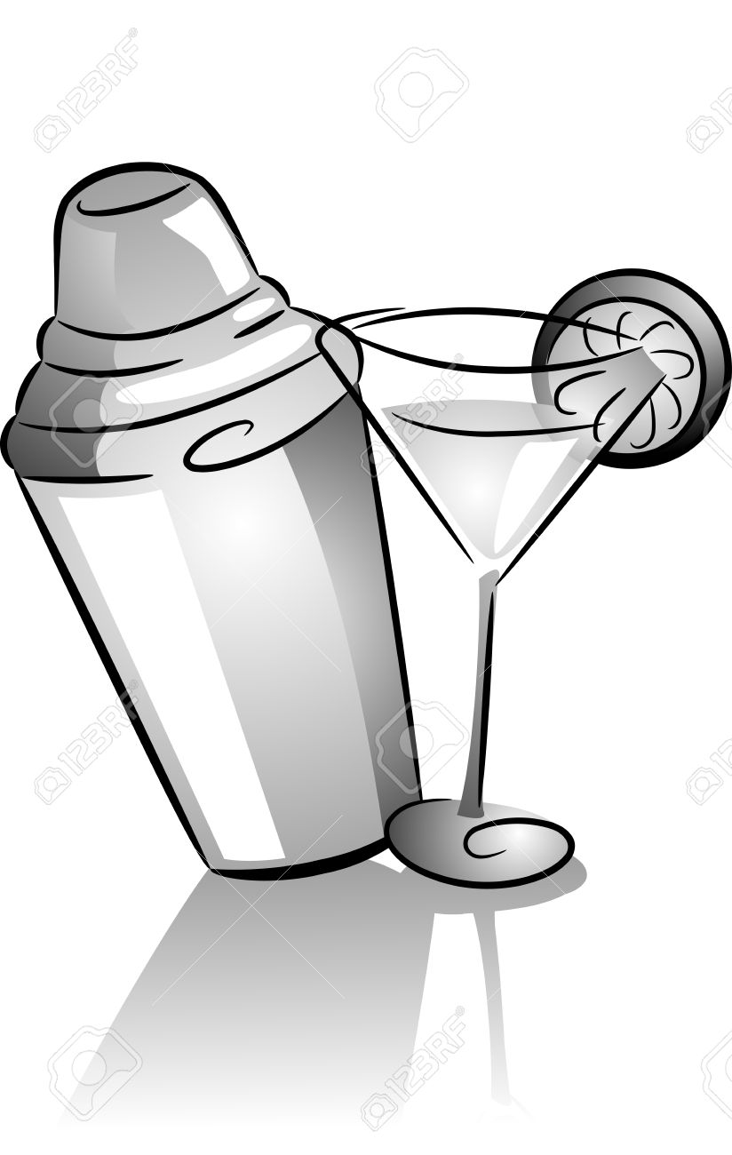 Cocktail Shaker and Cocktail Glass Icons » Clipart Station.