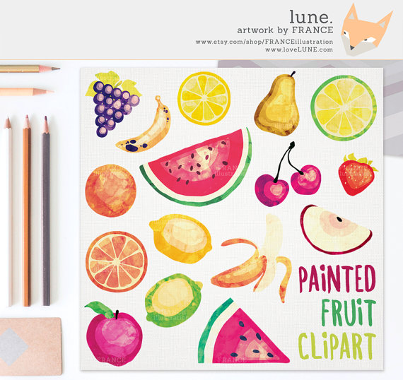GET 3 FOR 2. Watercolor Fruit Clipart. Tropical Fruit Painted by.