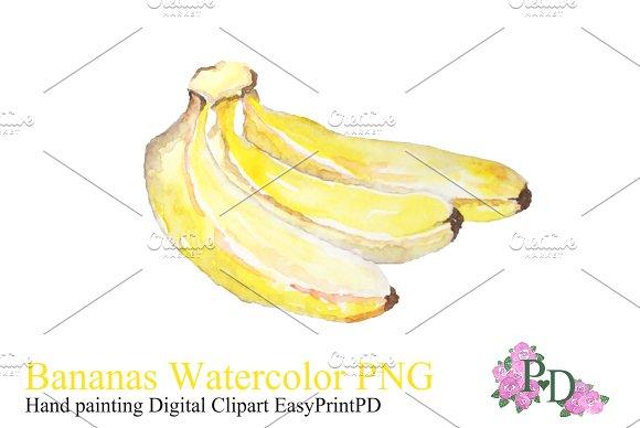 Banana Watercolor Clipart PNG ~ Illustrations on Creative Market.