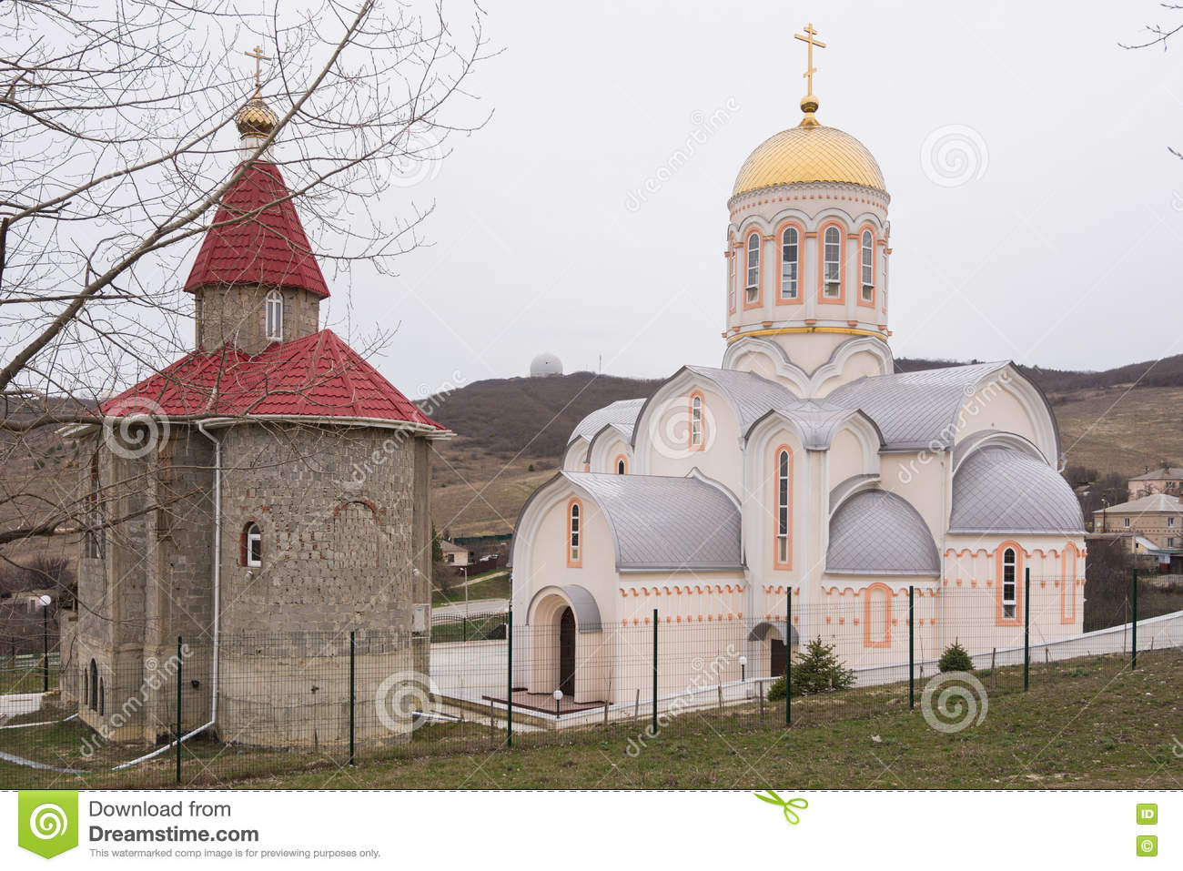 New And Old Church In The Village Of Great Martyr Barbara.