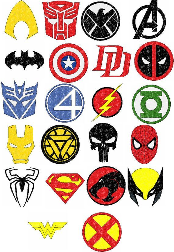 Super Hero Logos Embroidery Designs.