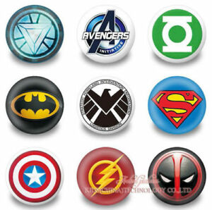 Details about 9pcs 30mm Button Pin Brooch Round Badge Avengers DC Comics  Marvel Hero Logo Kids.