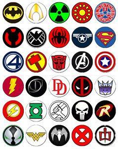 Marvel Super Hero Logos cakepins.com.