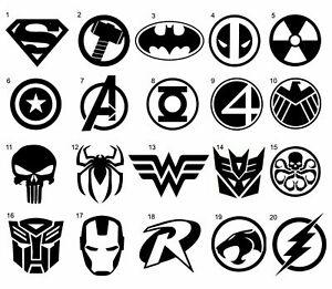 Details about DC Marvel Superhero Logos Symbols Vinyl Stickers Decals.