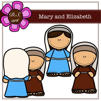 Mary and Elizabeth Digital Clipart (color and black&white).