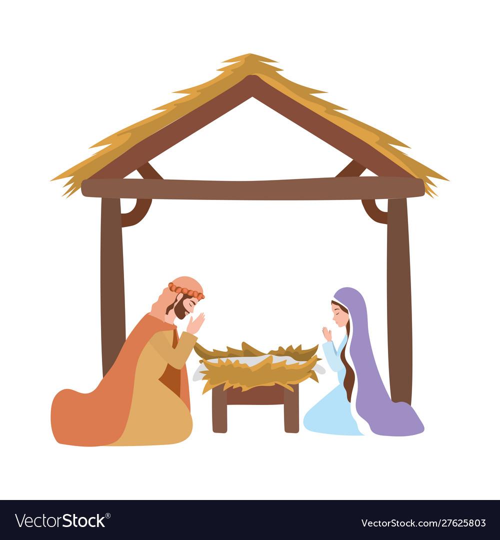 Saint joseph and mary virgin in stable manger.