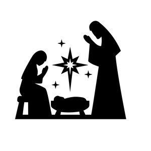 Silhouette Design Store: nativity mary joseph jesus.