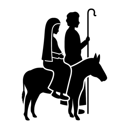 virgin mary in mule and saint joseph silhouettes vector.
