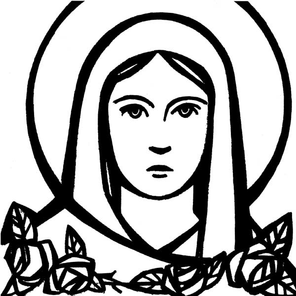 Mary Clipart Black And White.
