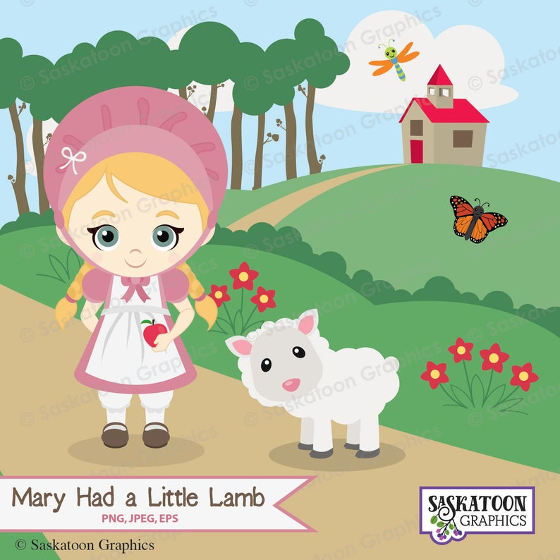 Mary Had a Little Lamb Clipart.