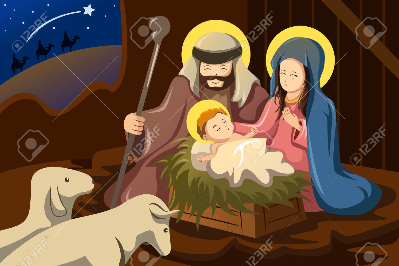 A Vector Illustration Of Joseph, Mary And Baby Jesus For Nativity.