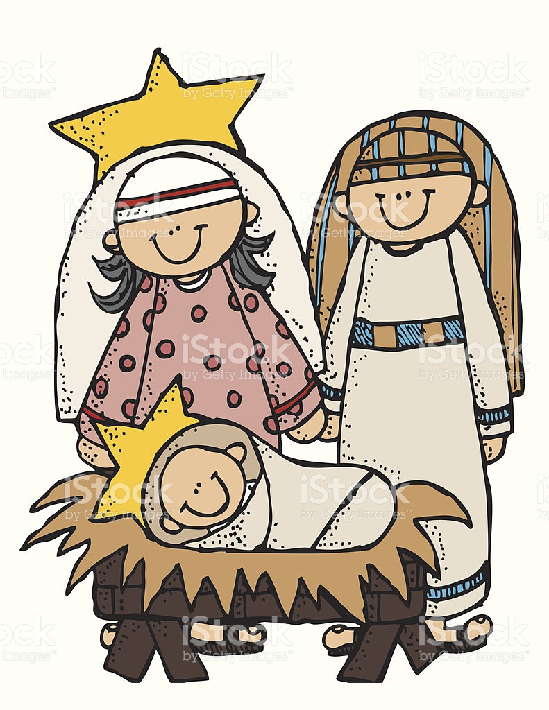 Folk Art Nativity Family Illustration Mary Josephand Baby Jesus.