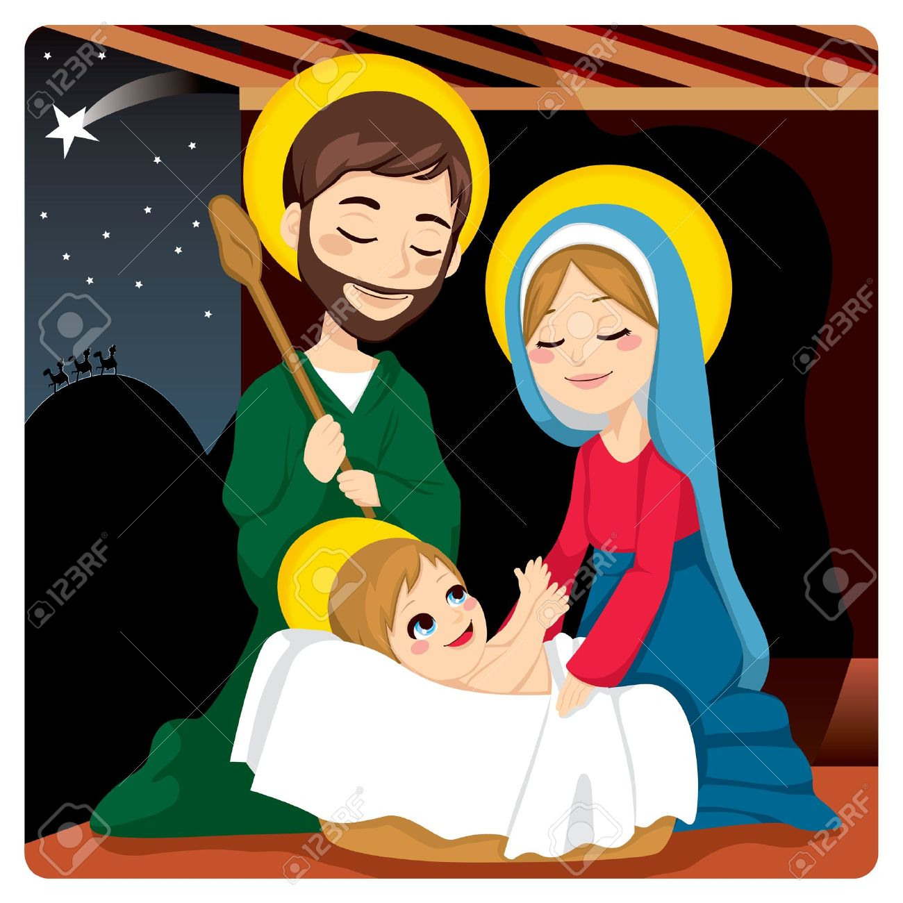 Joseph and Mary joyful with baby Jesus laughing and three wise...