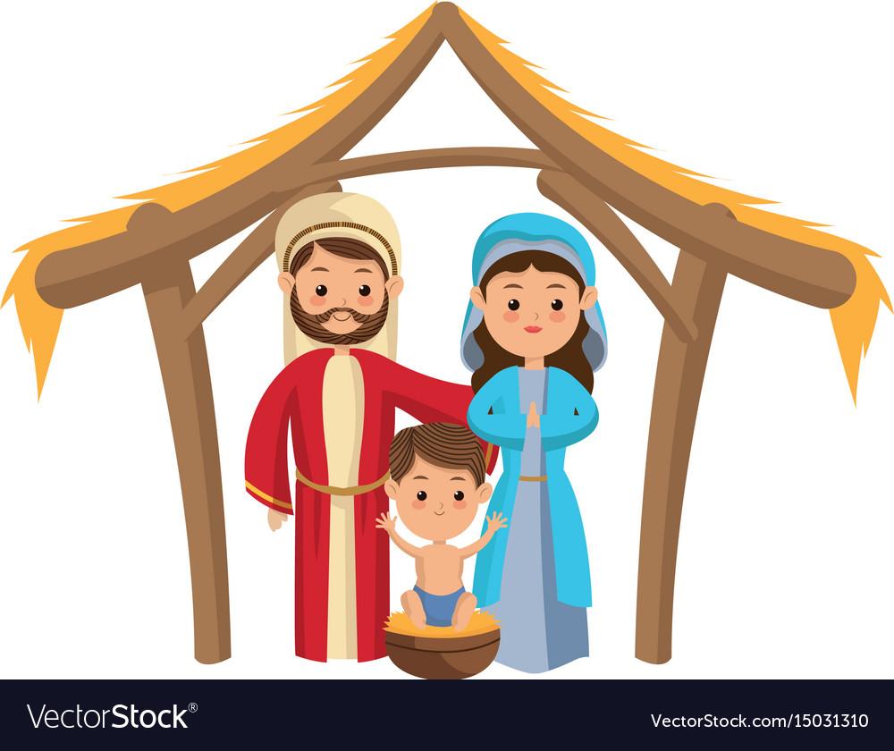 Cute manger family holy mary joseph and baby jesus.
