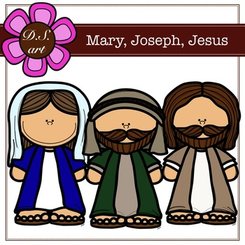 Mary, Joseph, Jesus Digital Clipart (color and black&white).