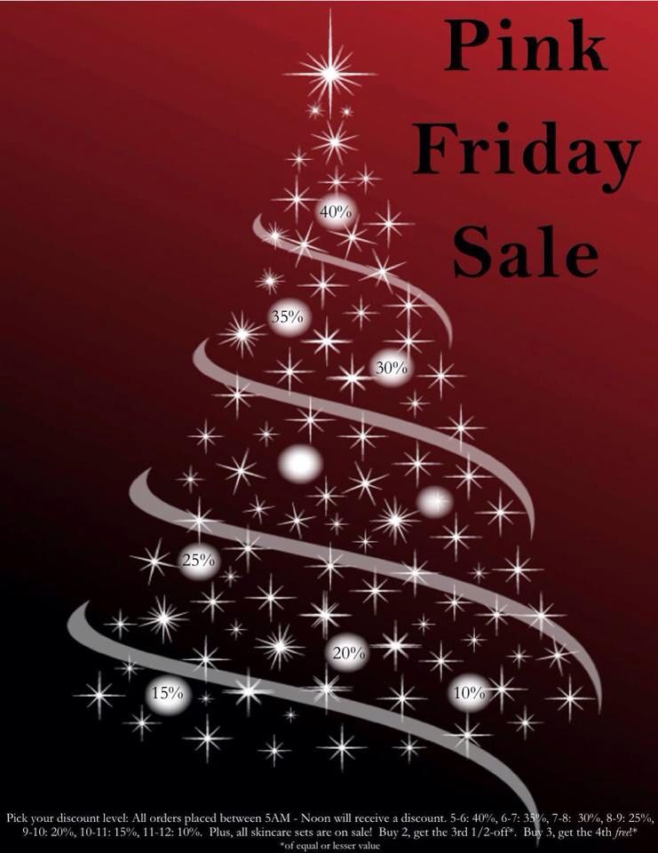 Pink/Black Friday Sale! Go to www.marykay.com.