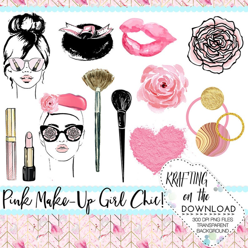 makeup clipart beauty clipart mary kay printable clip art set make up  clipart png watercolor cosmetics clipart set makeup planner girl.