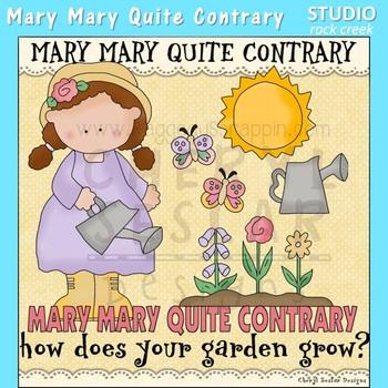 Mary Mary Quite Contrary Nursery Rhyme Clip Art C. Seslar.