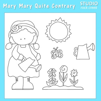 Mary Mary Quite Contrary line drawings pers/com C Sesler.