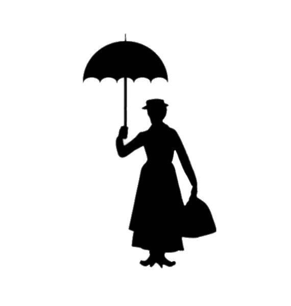 Mary Poppins Silhouette transparent PNG.