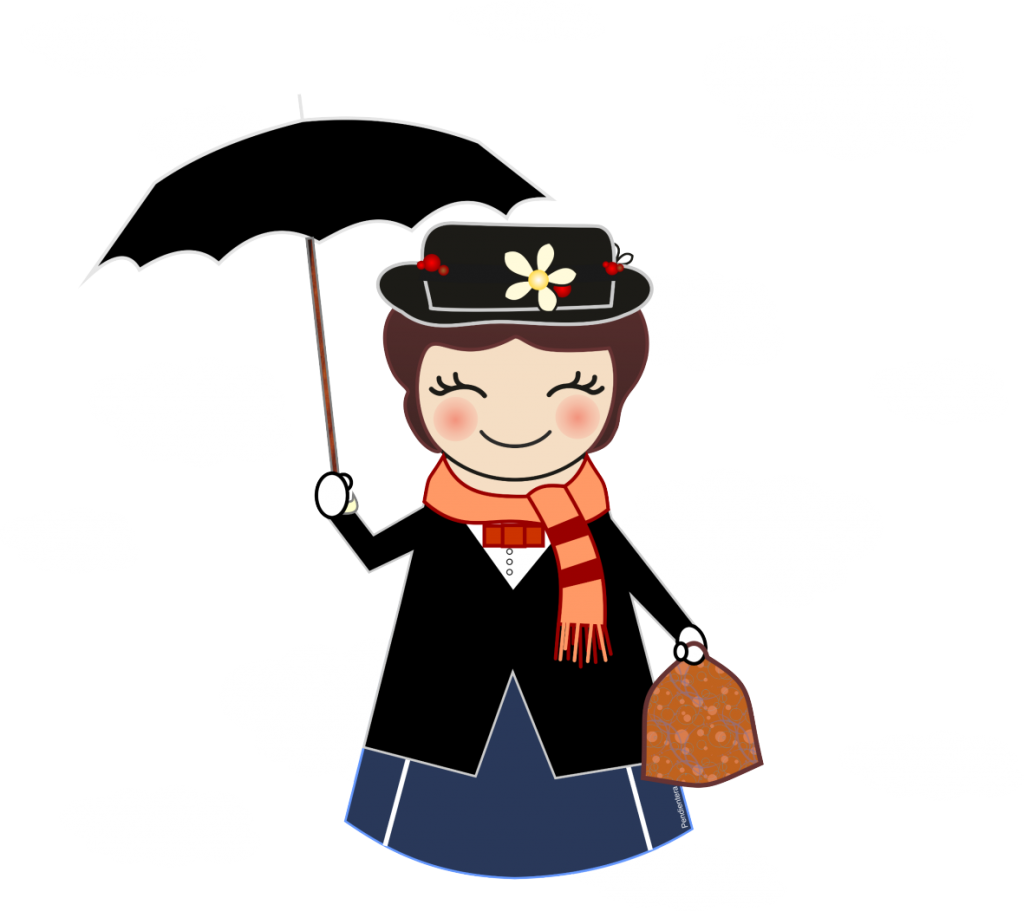 Mary Poppins Illustration Cartoon Drawing.