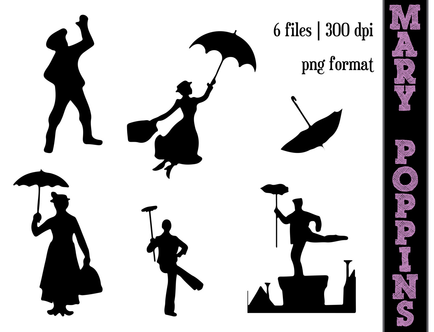 Mary Poppins Silhouette Clip Art N5 free image.